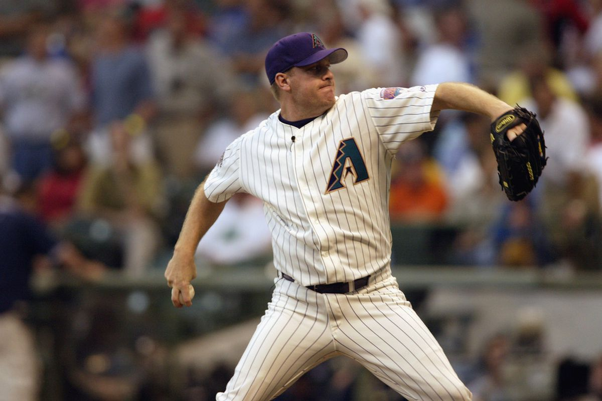 MILWAUKEE, WI - JULY 9: Curt Schilling of the National League throws against the American League during the MLB All Star Game July 9, 2002 at Miller Park in Milwaukee, Wisconsin. (Photo By Andy Lyons/Getty Images)