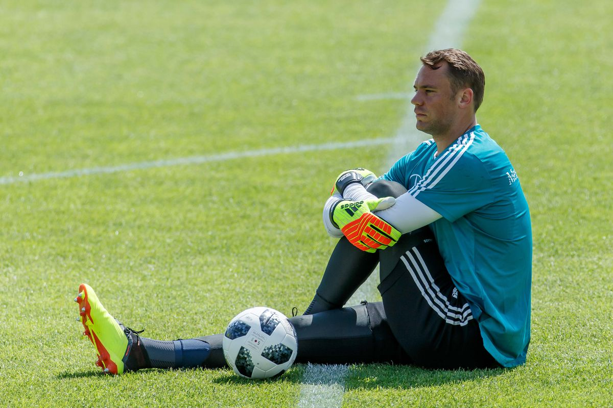 EPPAN, ITALY - MAY 28: Goalkeeper Manuel Neuer of Germany looks on during day six of the Southern Tyrol Training Camp on May 28, 2018 in Eppan, Italy.