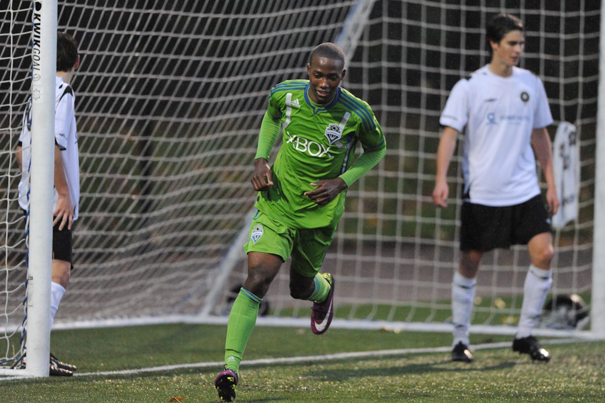 Seattle Sounders U18 Academy Player, Dominique Dismuke (9) during the match between Victoria Highlanders vs. Seattle Sounders FC U18s at Starfire Sports. Photo Credit: Chris Coulter / www.SoundersPhotos.com