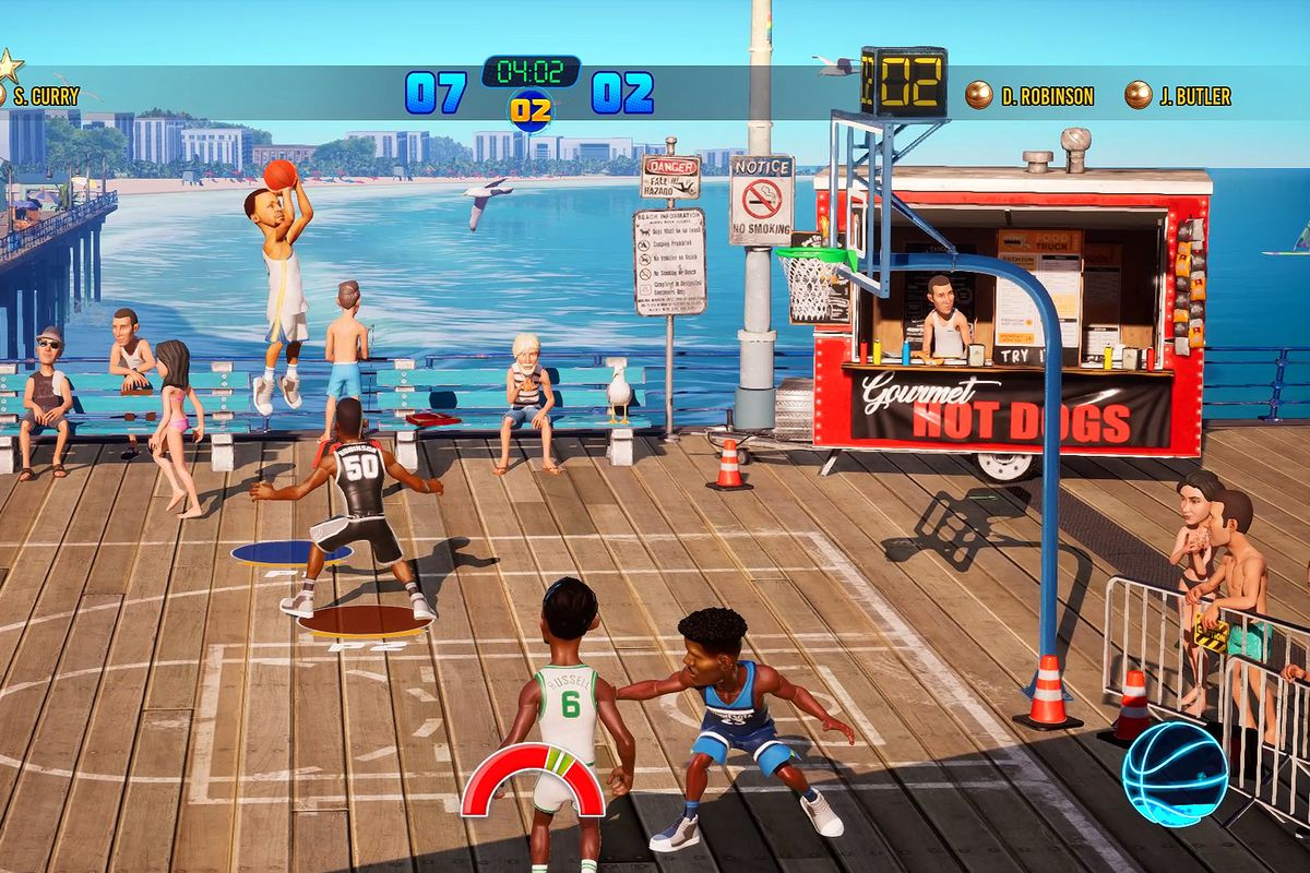 NBA Playgrounds 2 - Stephen Curry shooting a jumper on a pier