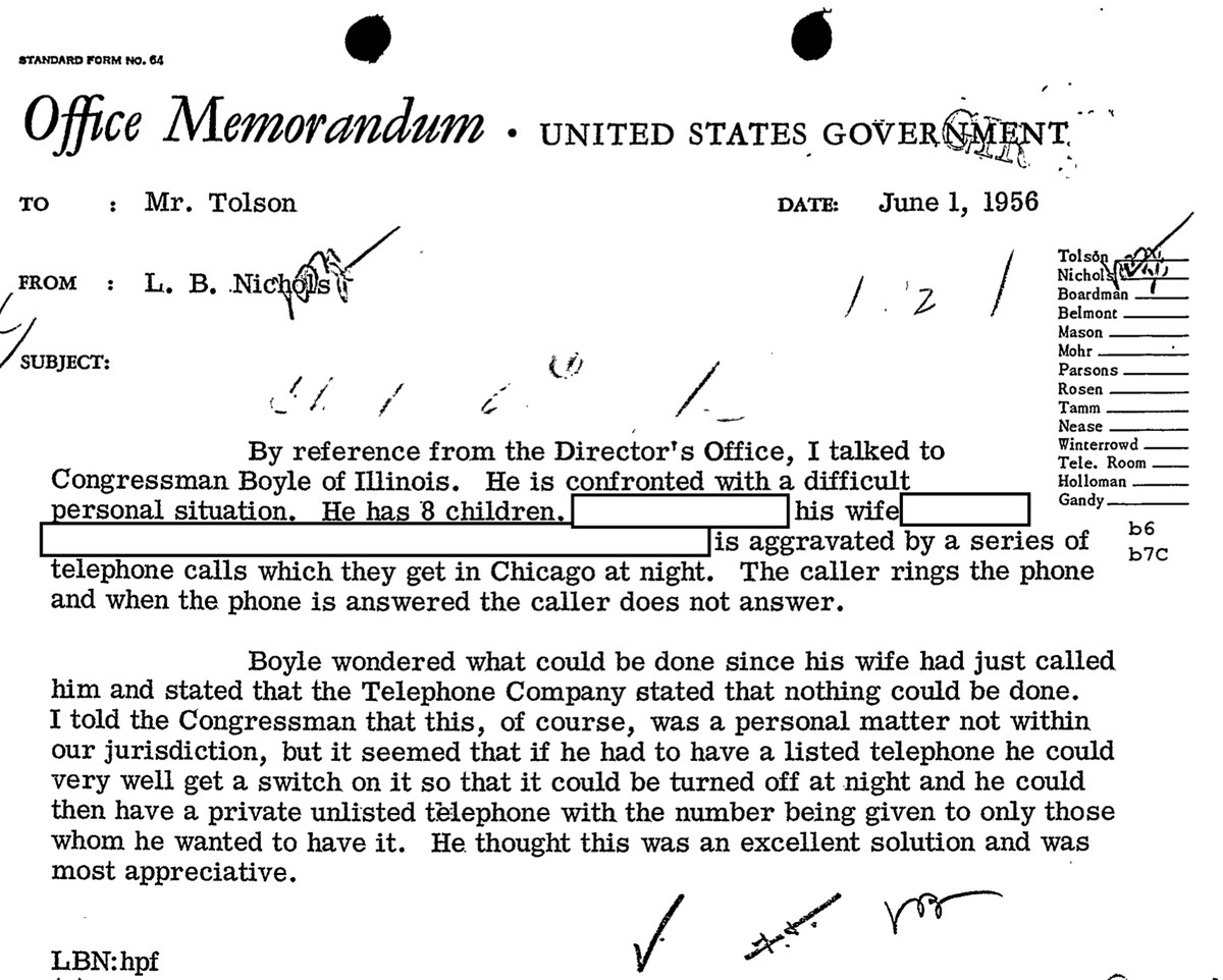 An FBI file on U.S. Rep. Charles Boyle reveals advice on dealing with crank calls.