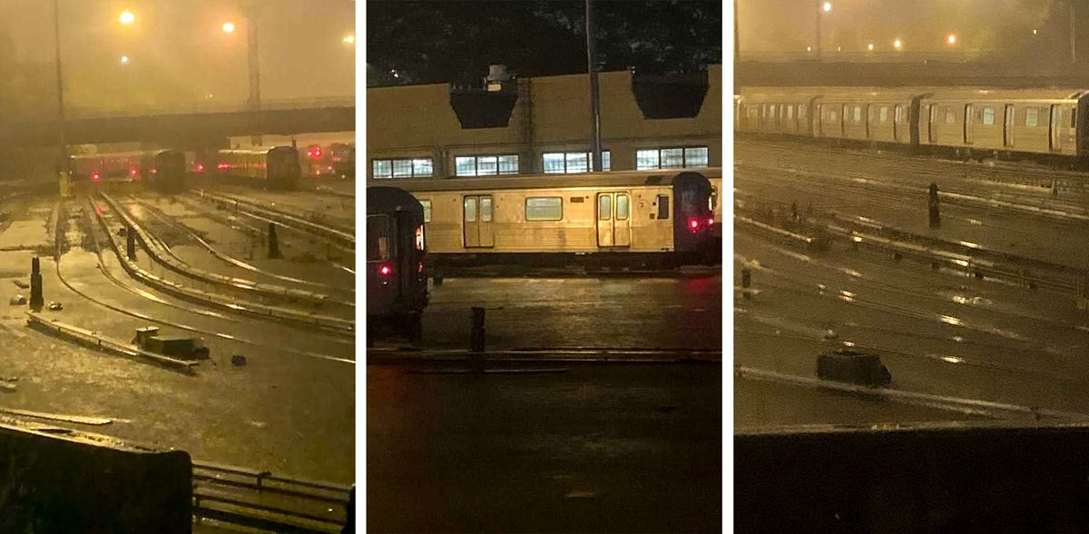 The Concourse train yard in The Bronx got hit hard by floods Wednesday night.