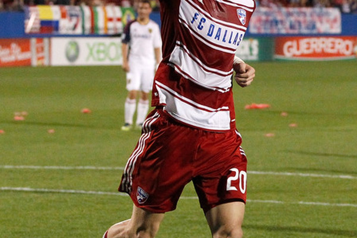 FRISCO, TX - APRIL 25:  Brek Shea #20 of the FC Dallas celebrates after scoring a goal on a penalty kick against Real Salt Lake at FC Dallas Stadium on April 25, 2012 in Frisco, Texas.  (Photo by Tom Pennington/Getty Images)