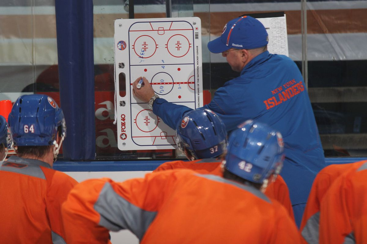 """""""Can anyone tell me what color the Islanders home uniforms are? Blue! That's right. Great job!"""""""