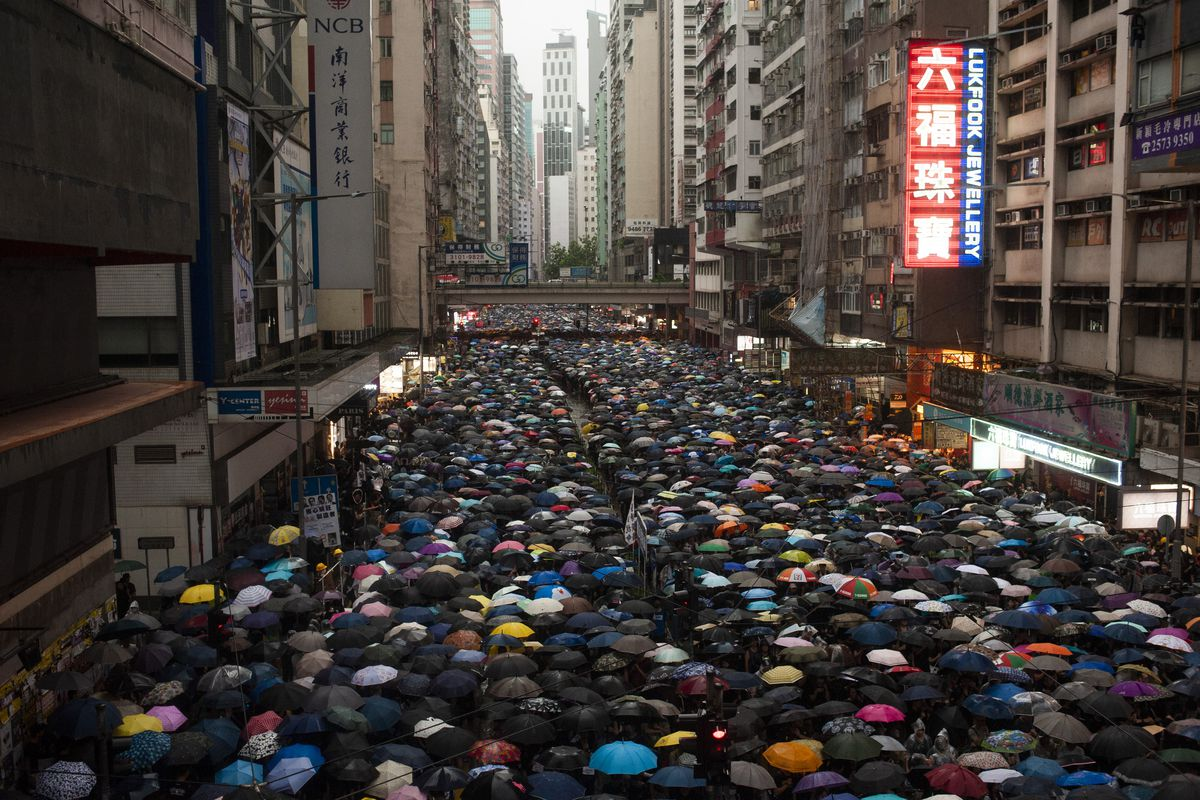 Protesters in Hong Kong march over the weekend.