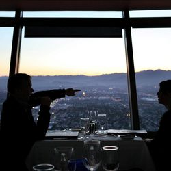 Diners enjoy the view from the Top of the World Restaurant at the Stratosphere in Las Vegas on Thursday, April 5, 2012.