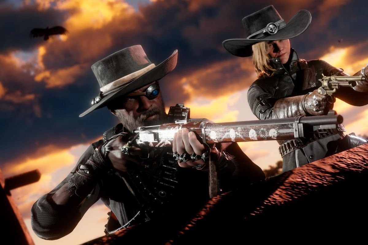 Red Dead Online - two bounty hunters, each wearing a cowboy hat, aim with their respective guns at a bounty target.