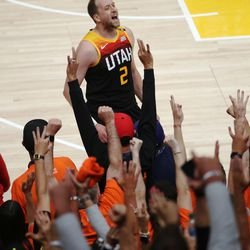 Utah Jazz guard Joe Ingles (2) celebrates a 3-pointer during the NBA playoffs in Salt Lake City on Thursday, June 10, 2021. The Jazz won 117-111.
