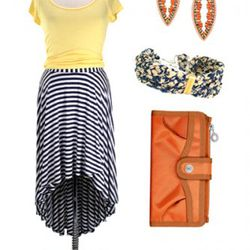 Ella Moss Wren High Low Skirt, $138; Michael Stars Shine Scoop Shirred<br />tee, $68; Miguel Ases Charming Neutrals Spear Earrings, $166; Jeanine<br />Payer Brass Journey Bracelet, $100; George, Gina, & Lucy Orange Fresh<br />Cash Wallet, $85.