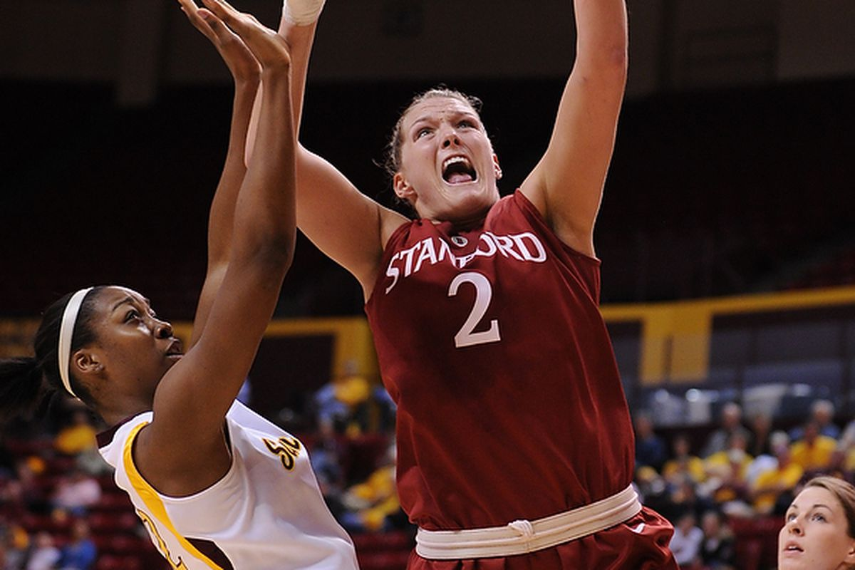 Stanford University center Jayne Appel had 19 points, eight rebounds and four blocked shots in a 62-43 win against Arizona State. (Photo by Max Simbron)