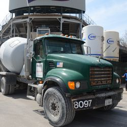 12:17 p.m. Concrete truck exiting the work site -