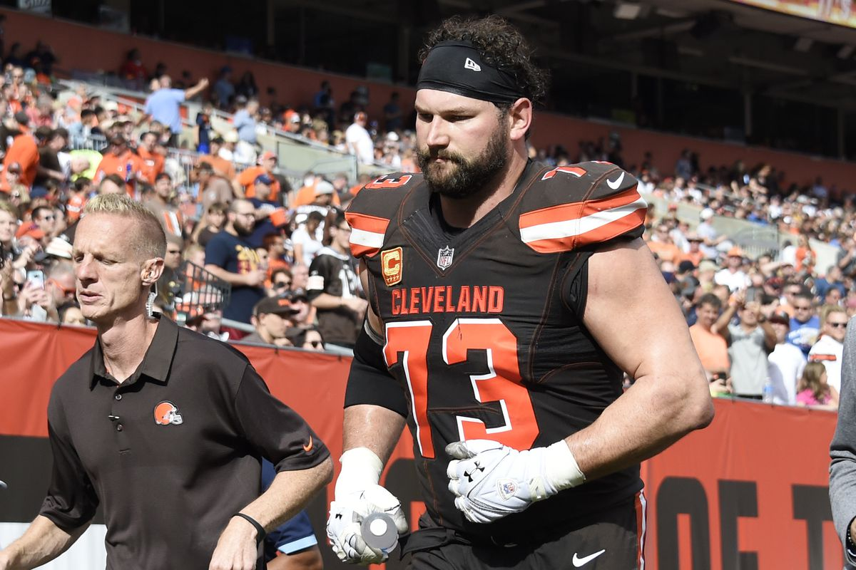 Cleveland Brown Joe Thomas leaves the field after sustaining a triceps injury