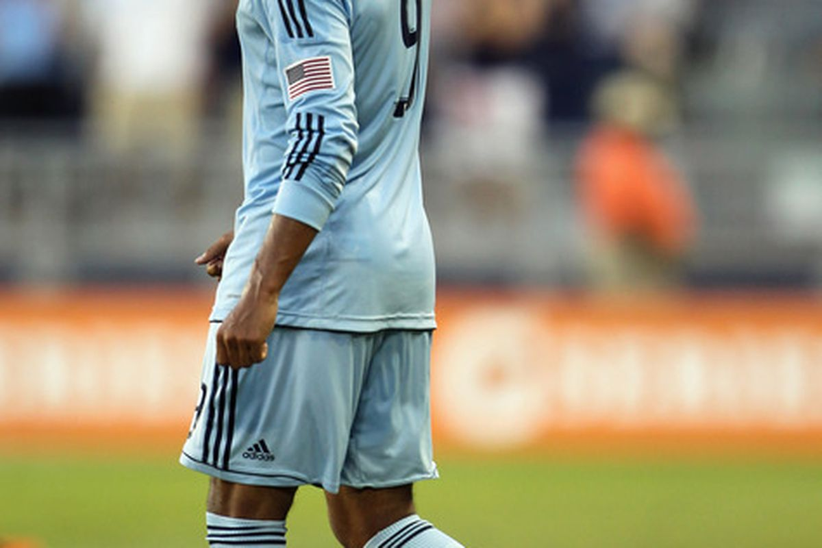 If all goes as planned, Sporting KC forward Teal Bunbury will train with Bolton this off-season.   (Photo by Jamie Squire/Getty Images)