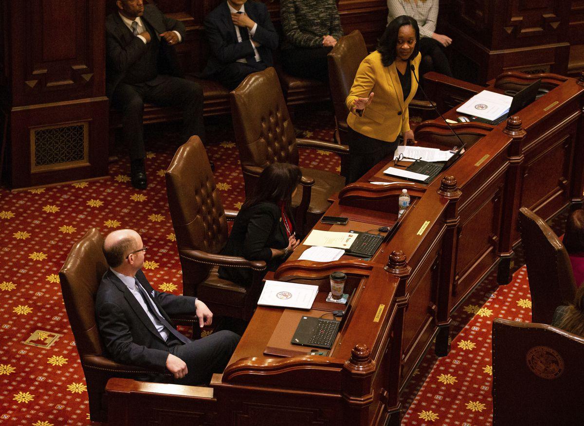 State Senate Majority Leader Kimberly Lightford, D-Maywood, and then future state Senate President Don Harmon, D-Oak Park, on the Senate floor last year.