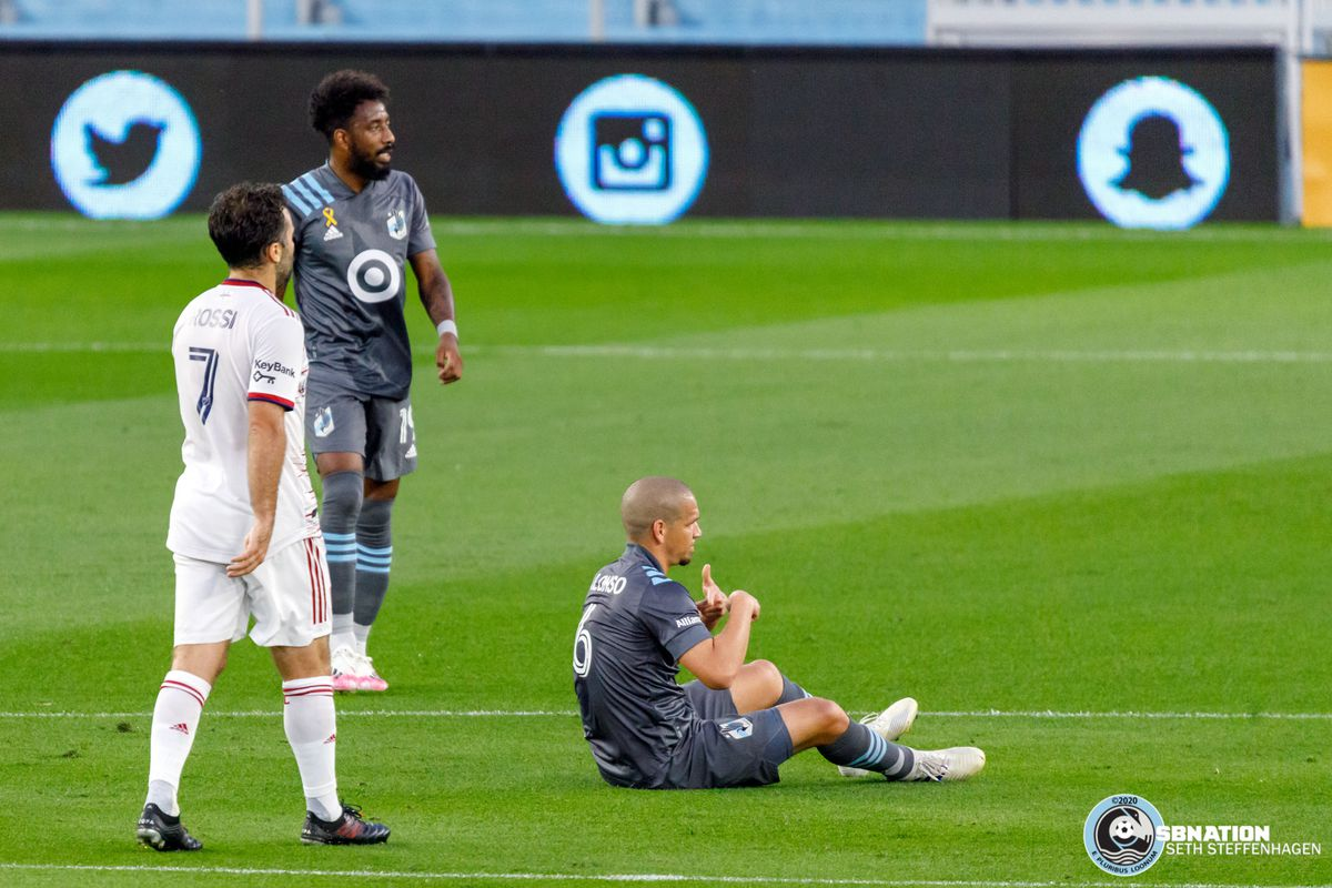 September 6, 2020 - Saint Paul, Minnesota, United States - Minnesota United midfielder Osvaldo Alonso (6) signals for a substitution during the match against Real Salt Lake at Allianz Field.
