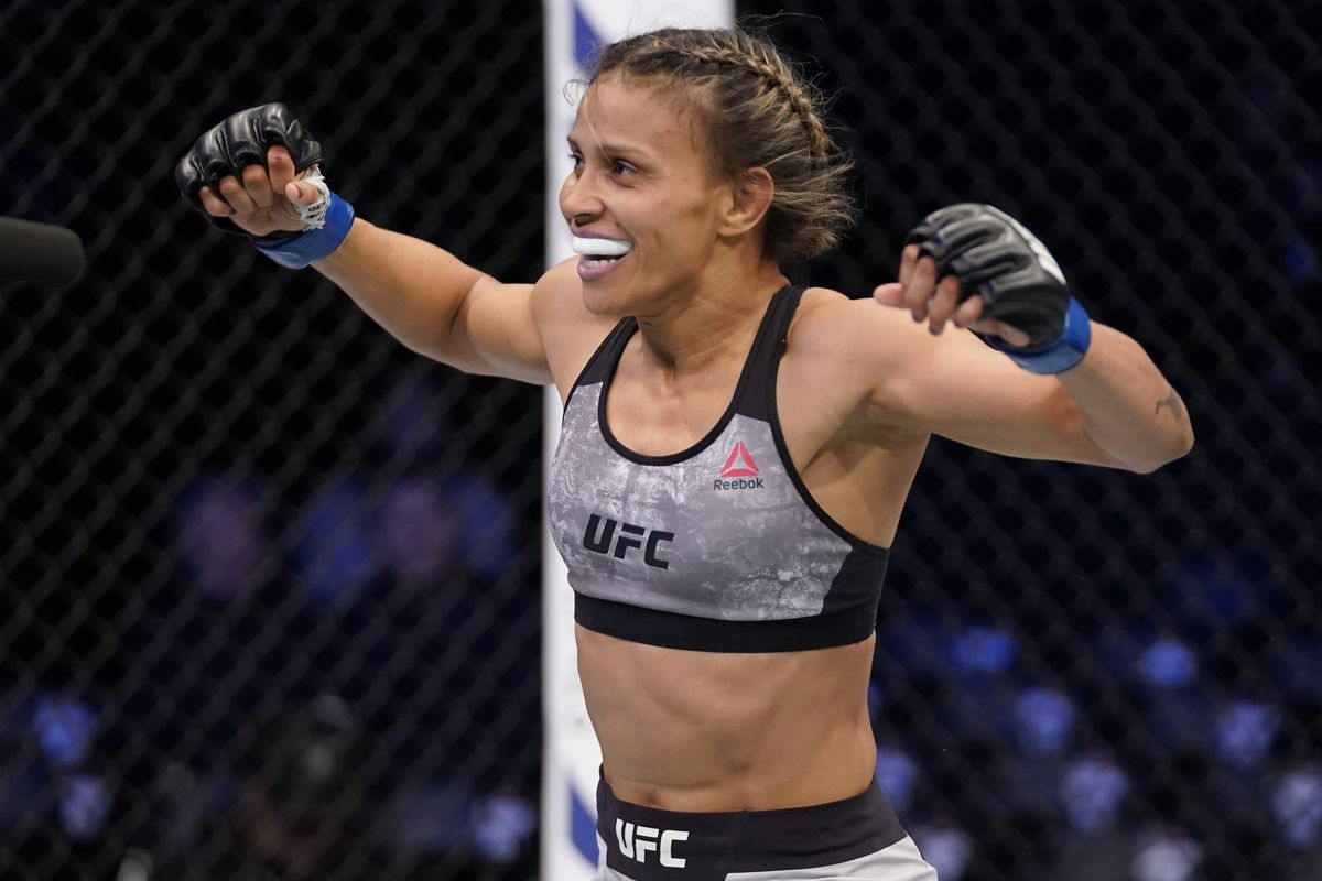 Amanda Lemos of Brazil celebrates after her submission victory over Miranda Granger in their strawweight fight during the UFC Fight Night event at Sajik Arena 3 on December 21, 2019 in Busan, South Korea.