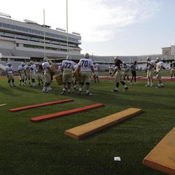 """In this photo taken Aug. 23, 2012, Texas State holds NCAA college football practice at Bobcat Stadium on the campus of Texas State in San Marcos, Texas. Five programs """""""" Georgia State, Texas-San Antonio, South Alabama, Massachusetts and Texas State """""""" are at various stages in the two-year transition process to the top-tier Football Bowl Subdivision this season."""