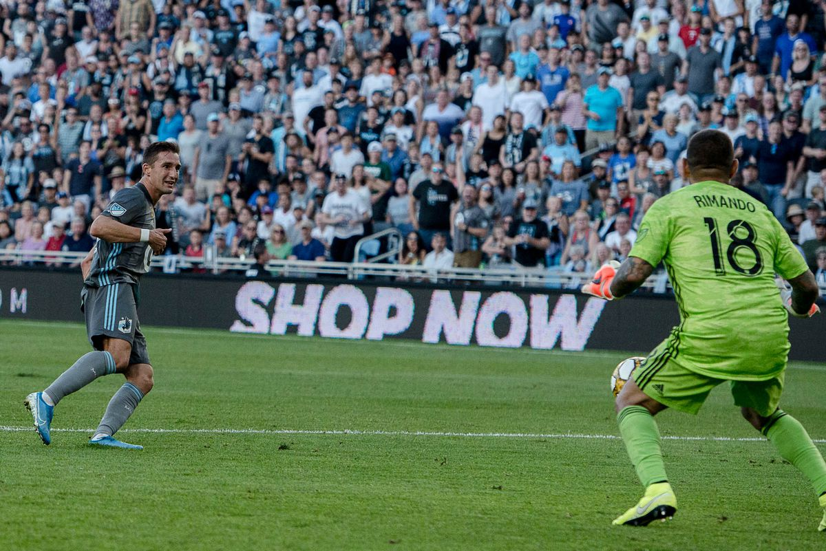 September 15, 2019 - Saint Paul, Minnesota, United States - Ethan Finlay takes a shot during an MLS match between Minnesota United and Real Salt Lake at Allianz Field (Photo: Tim C McLaughlin)