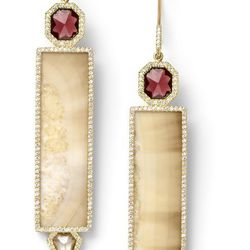Light sunburst fossilized walrus ivory, natural garnet and white sapphire earrings with white diamond pavé, 18 carat recycled yellow gold, 0.60 TCW $19,050