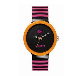 "<a href=""http://shop.lacoste.com/Lacoste-Pink-Striped-Goa/dp/B0051HJLKC?ie=UTF8&prevPageletDesc=DP%3ARecommendations&suggestedItem=B0051HJO18""> Lacoste Goa stripe watch</a>, $95 lacoste.com"