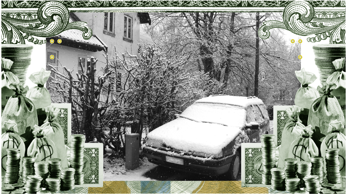 A photo illustration showing a snowy car parked next to a house and surrounded by a border of dollars.