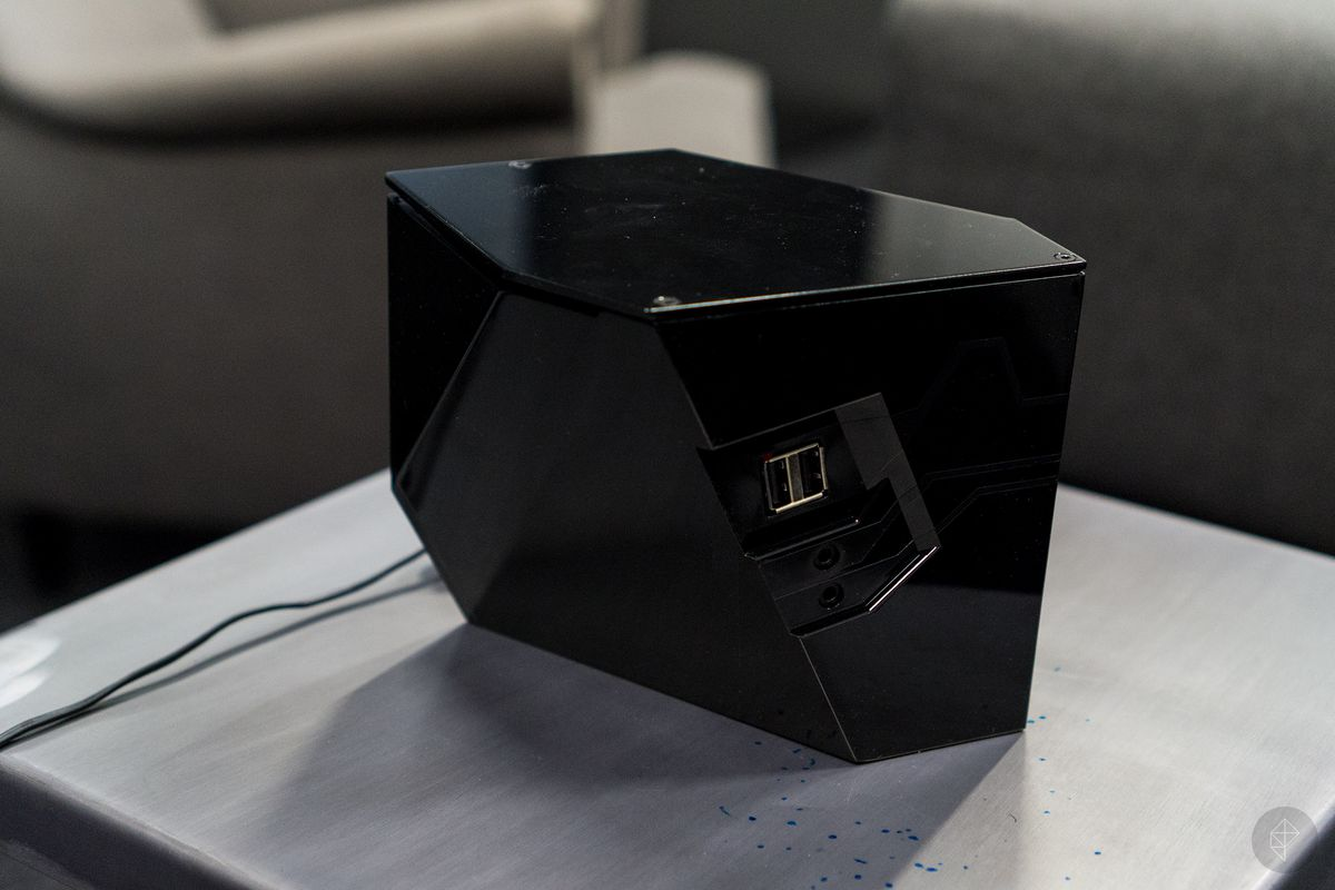Shadow box - view of front USB ports and audio jacks