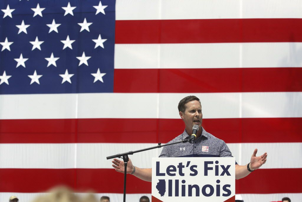 U.S. Rep. Rodney Davis participates in a Republican rally during Governors Day at the Illinois State Fair in 2016. | AP Photo/Seth Perlman
