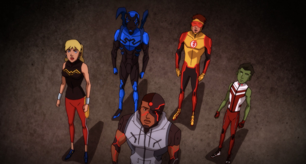 Wonder Girl, Blue Beetle, Kid Flash, Beast Boy, and Cyborg stare up at something in the distance, while on an alien space ship