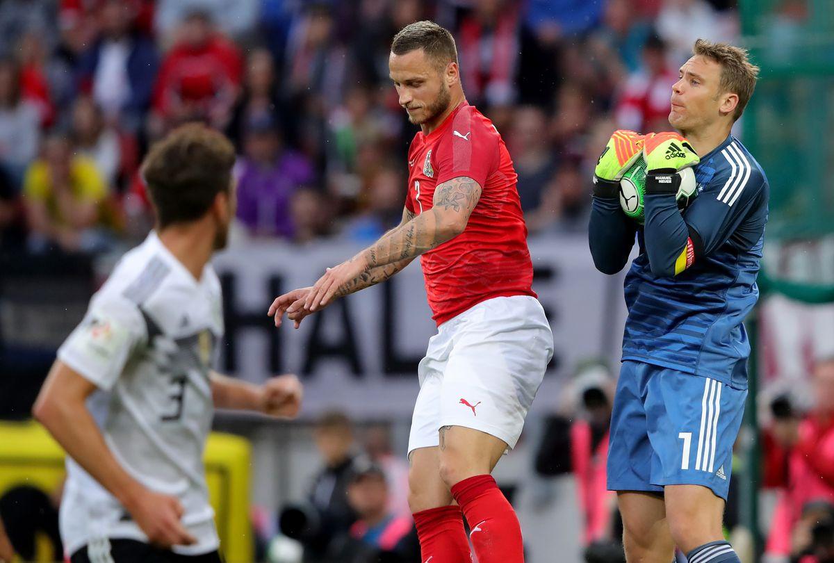 KLAGENFURT, AUSTRIA - JUNE 02: Manuel Neuer, goalkeeper of Germany makes a save during the International Friendly match between Austria and Germany at Woerthersee Stadion on June 2, 2018 in Klagenfurt, Austria.