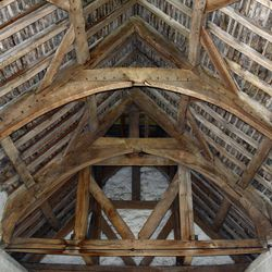 Interior view of the Langley Chapel's roof construction.