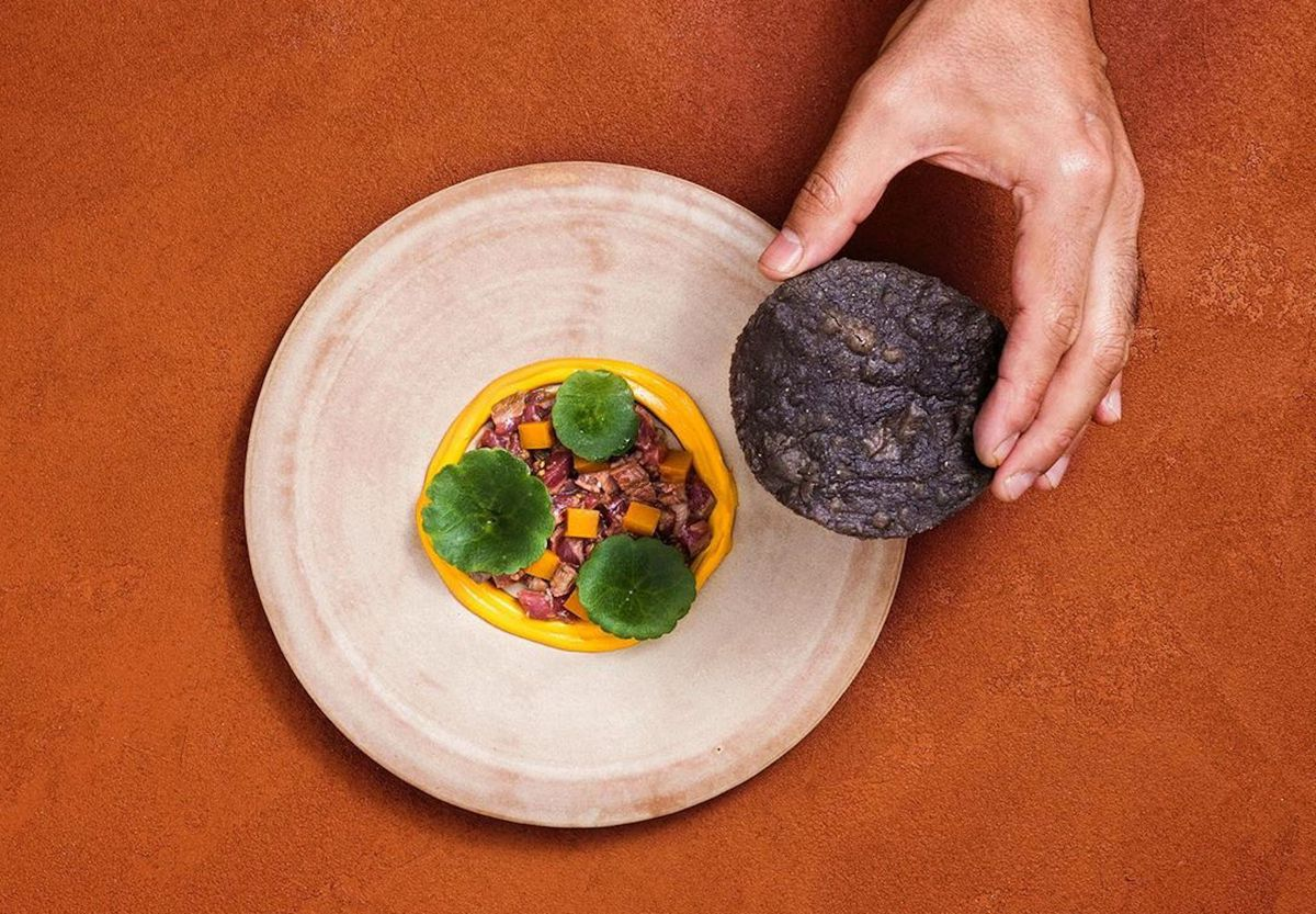 London's biggest and best new restaurant openings of 2020 include Kol by Santiago Lastra, which serves Mexican dishes like this cured lamb leg tostada with fermented gooseberries and guajillo chilli