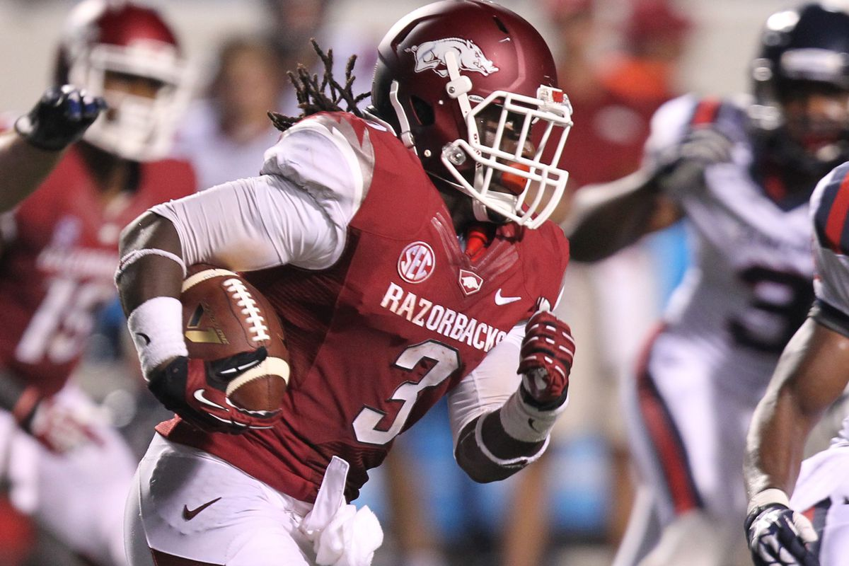 Alex Collins, who ran for over 1,000 yards as a freshman last year, is just one of Arkansas' talented trio of RBs.