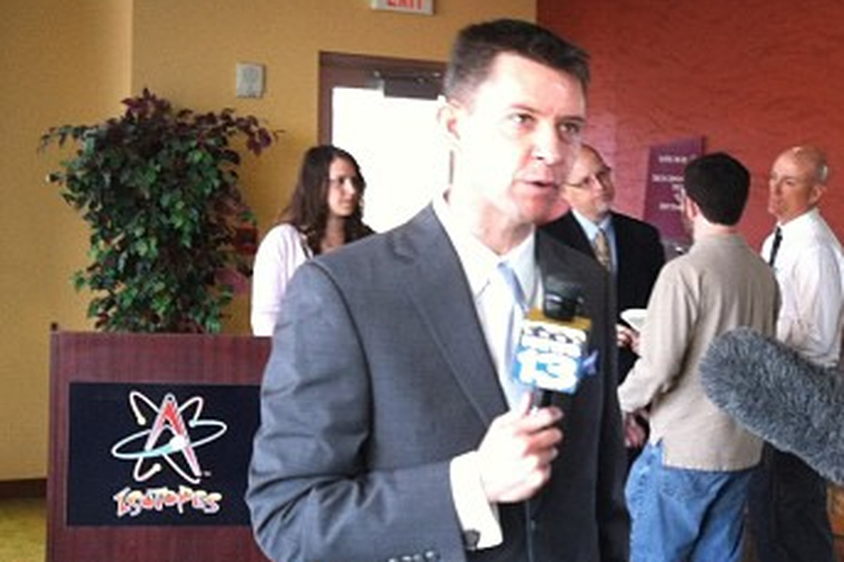 Josh Suchon meets the media on Wednesday in Albuquerque