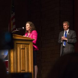 Alia Herrod tells her story before her husband, Chris Herrod, gives his speech while campaigning for the vote of Republican delegates during the GOP convention at Timpview High School in Provo on Saturday, June 17, 2017.