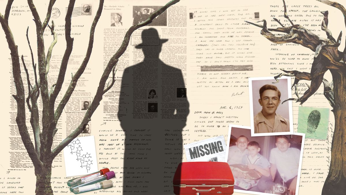 A photo illustration of a silhouetted figure against a backdrop of writings and 1960's-era photos.