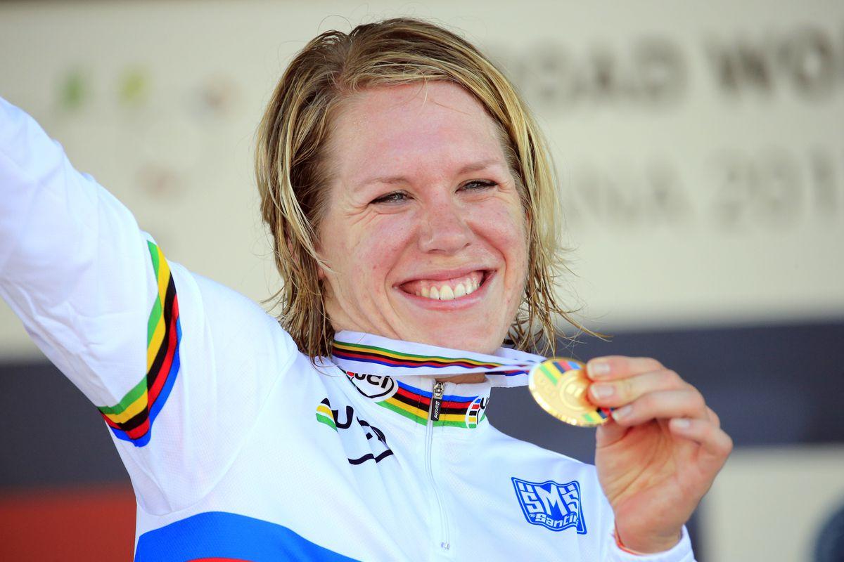Ellen van Dijk on the ITT podium, 2013 Road World Championships