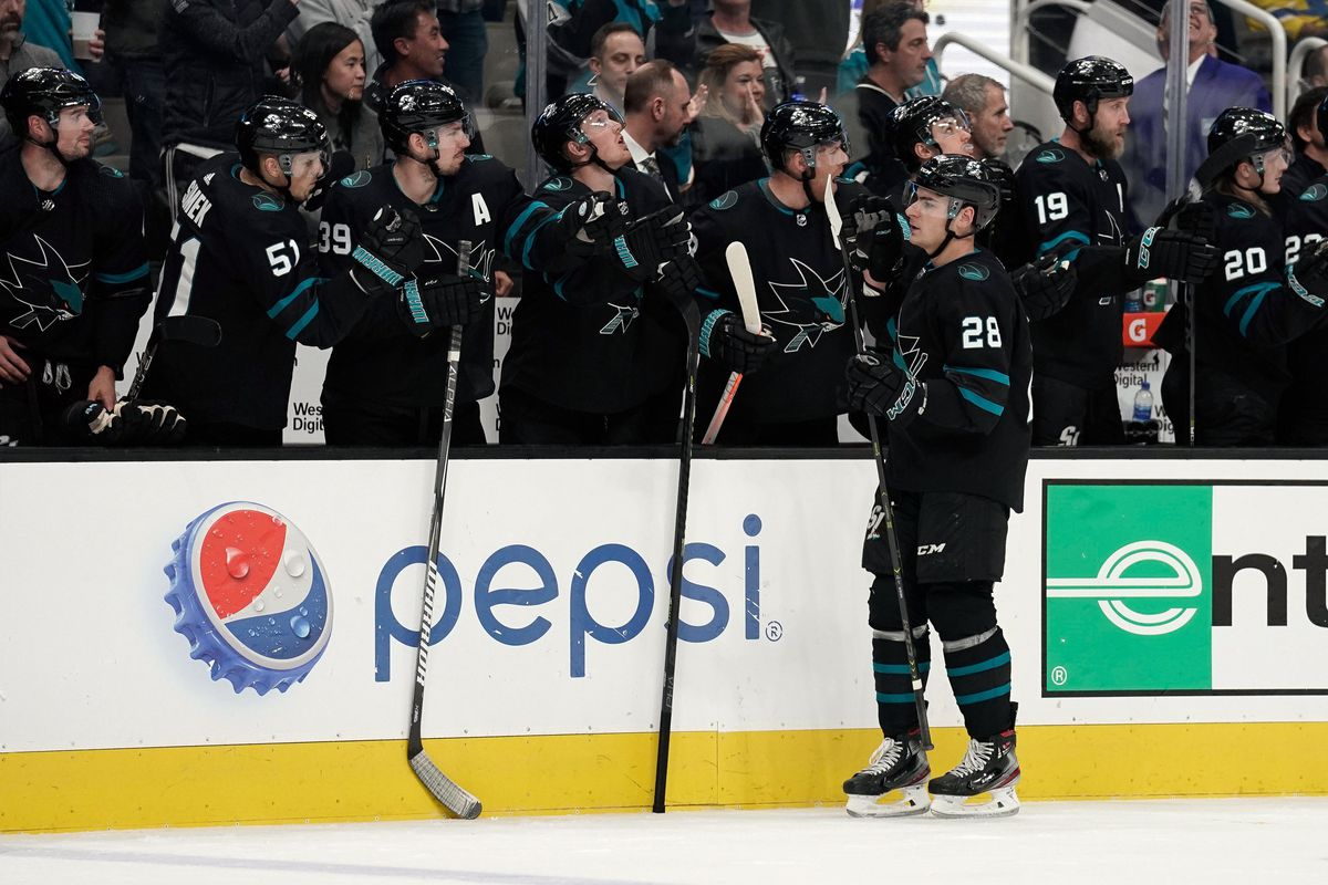 Mar 7, 2019; San Jose, CA, USA; San Jose Sharks right wing Timo Meier (28) celebrates with teammates against the Montreal Canadiens during the third period at SAP Center at San Jose.