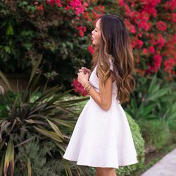 """Aimee of <a href=""""http://www.songofstyle.com""""target=""""_blank"""">Song of Style</a> is wearing a <a href=""""http://onedressaday.com/queens-jacquard-fit-flare-dress.html""""target=""""_blank"""">One Dress A Day</a> dress."""