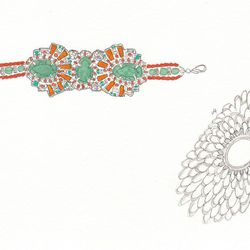 Left to right: Suzanna Dai bracelet, $215; Saya Hibino cuff bracelet, $595.