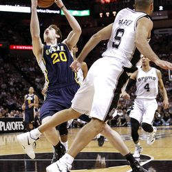 SAN ANTONIO, TX - APRIL 29:  Gordon Hayward #20 of the Utah Jazz takes a shot against Tony Parker #9 of the San Antonio Spurs in Game One of the Western Conference Quarterfinals in the 2012 NBA Playoffs at AT&T Center on April 29, 2012 in San Antonio, Texas.