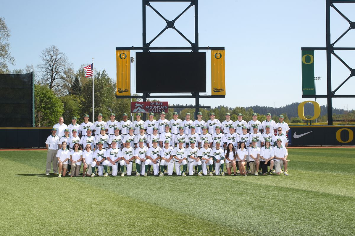 Current Dodgers pitchers, seen here with the 2013 Oregon Ducks (click on image for larger version): Jake Reed (No. 5), fifth from right on top row; Garrett Cleavinger (No. 35), fifth from right in middle row; Jimmie Sherfy (No. 30), seventh from right on bottom row kneeling.