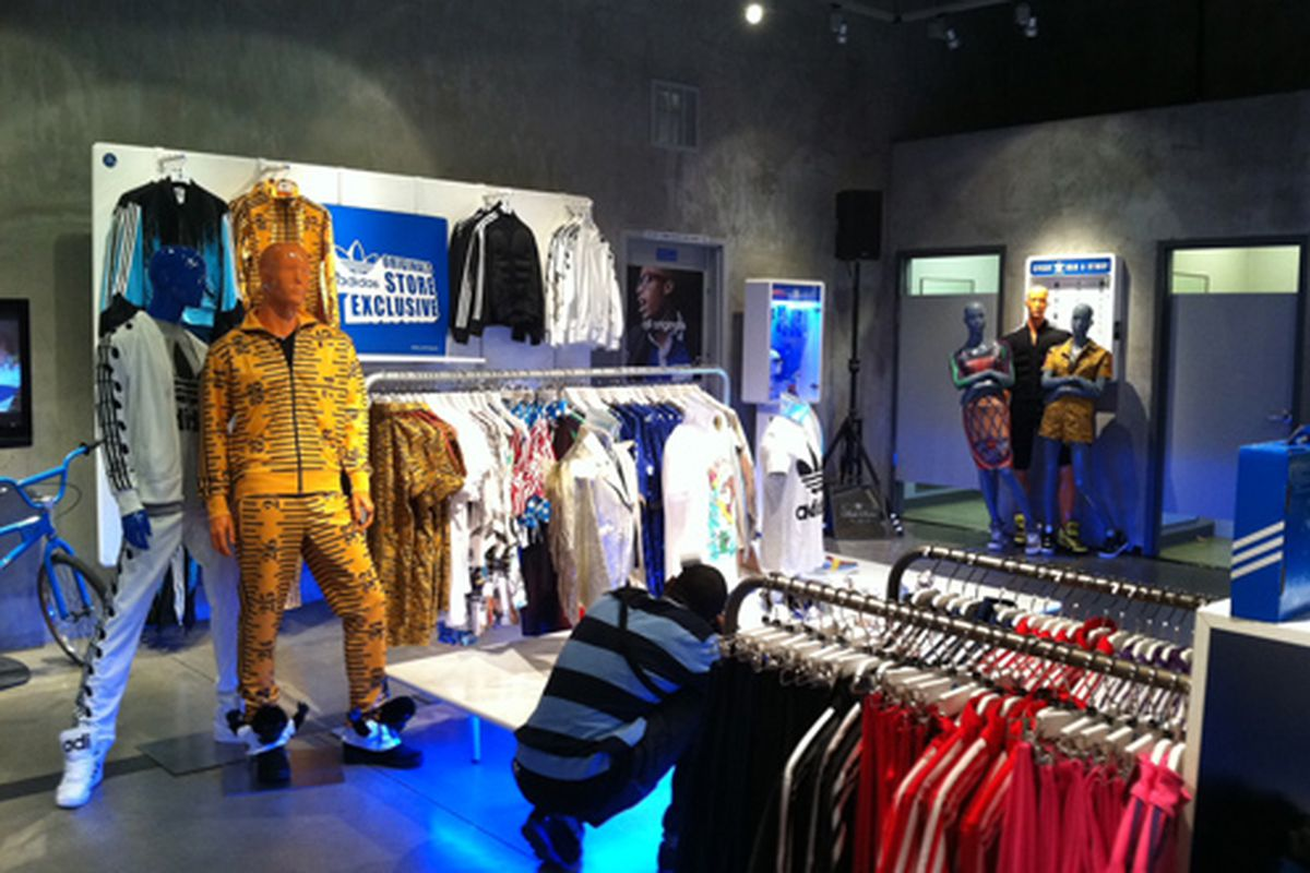 Jeremy Scott's latest collection at the Adidas Originals store on Melrose.