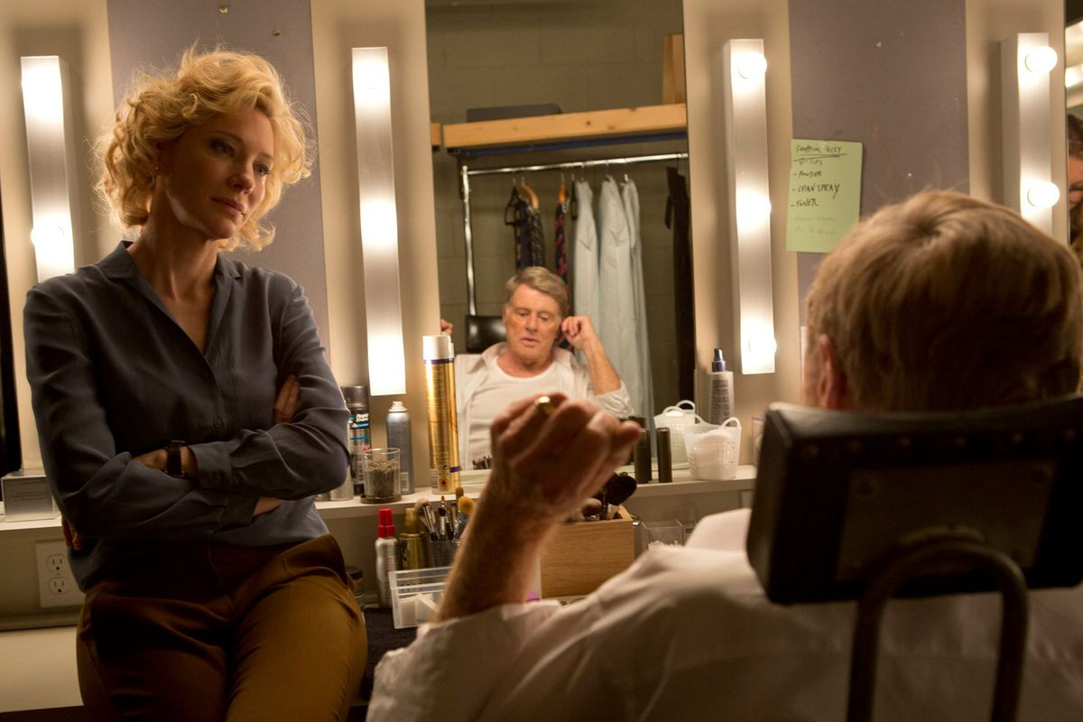 Cate Blanchett and Robert Redford star in Truth. Redford is playing Dan Rather. He's super folksy.