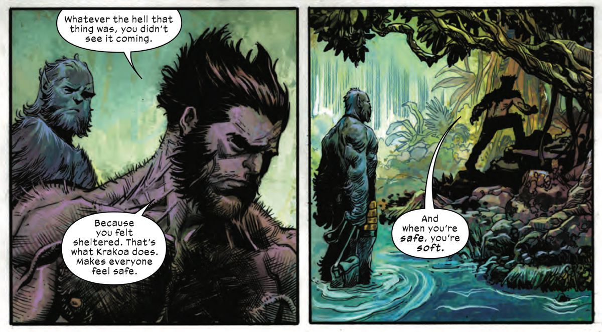"""Wolverine tells Beast that Krakoa makes everyone feel safe. """"And when you're safe, you're soft,"""" in X-Force #1, Marvel Comics (2019)."""