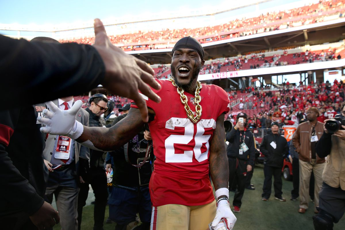 San Francisco 49ers running back Tevin Coleman celebrates after the 49ers defeated the Minnesota Vikings in a NFC Divisional Round playoff football game at Levi's Stadium.