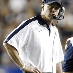 BYU's Head Coach Bronco Mendenhall watches the sidelines as BYU and Utah play Saturday, Sept. 17, 2011