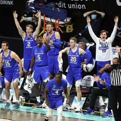 BYU cheers a 3-point shot as BYU and Gonzaga play in the finals of the West Coast Conference tournament at the Orleans Arena in Las Vegas on Tuesday, March 9, 2021. Gonzaga won 88-78.