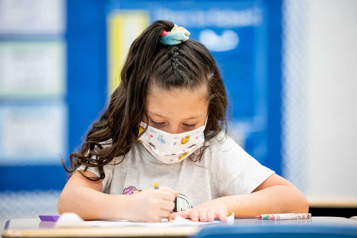 Anastazia Dall works in her first grade class at Nibley Park School in Salt Lake City on Tuesday, Aug. 24, 2021.
