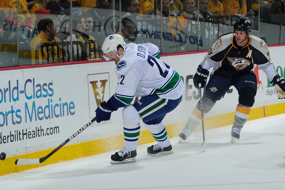 The Canucks look to end the series tonight.  (Photo by Frederick Breedon/Getty Images)