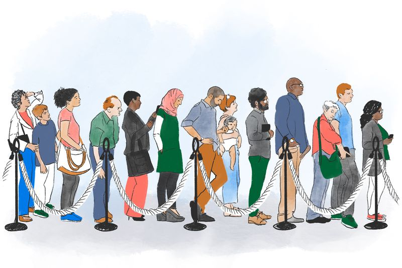 An illustration of people waiting in line at the first Starbucks.